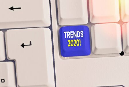 Text sign showing Trends 2020. Business photo text general direction in which something is developing or changing