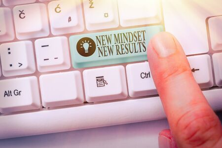 Text sign showing New Mindset New Results. Business photo showcasing obstacles are opportunities to reach achievement Zdjęcie Seryjne