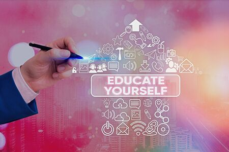 Word writing text Educate Yourself. Business photo showcasing prepare oneself or someone in a particular area or subject Stockfoto