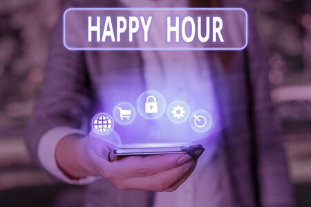 Conceptual hand writing showing Happy Hour. Concept meaning when drinks are sold at reduced prices in a bar or restaurant Banque d'images