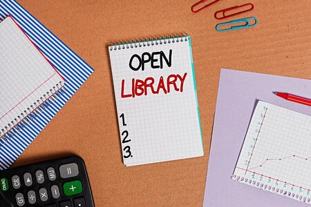 Text sign showing Open Library. Business photo text online access to many public domain and outofprint books Striped paperboard notebook cardboard office study supplies chart paper Zdjęcie Seryjne