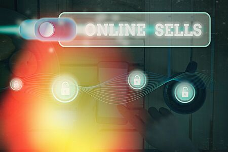 Word writing text Online Sells. Business photo showcasing sellers directly sell goods or services over the Internet Archivio Fotografico