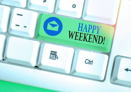 Word writing text Happy Weekend. Business photo showcasing something nice has happened or they feel satisfied with life