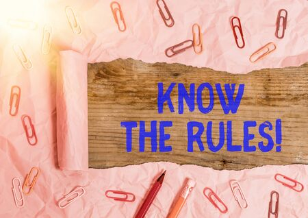 Text sign showing Know The Rules. Business photo text set explicit or regulation principles governing conduct
