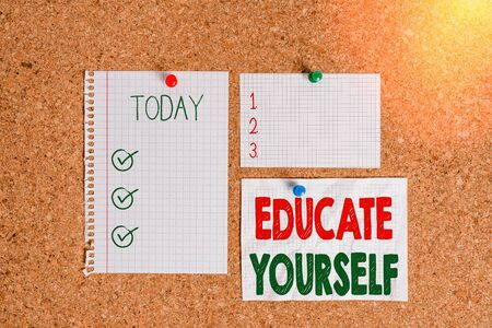Text sign showing Educate Yourself. Business photo text prepare oneself or someone in a particular area or subject Corkboard color size paper pin thumbtack tack sheet billboard notice board