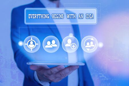 Text sign showing Everything Begins With An Idea. Business photo showcasing steps you take to turn an idea into a reality