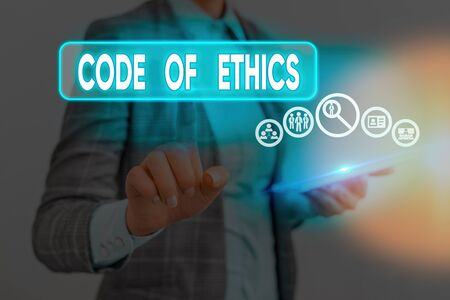 Conceptual hand writing showing Code Of Ethics. Concept meaning basic guide for professional conduct and imposes duties
