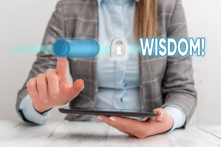 Text sign showing Wisdom. Business photo showcasing the ability to use your knowledge and experience to make decisions