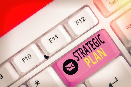 Text sign showing Strategic Plan. Business photo showcasing a systematic process of envisioning a desired future Reklamní fotografie