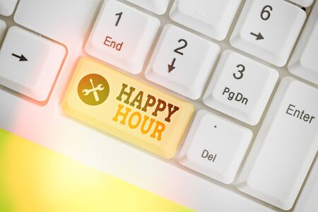Writing note showing Happy Hour. Business concept for when drinks are sold at reduced prices in a bar or restaurant