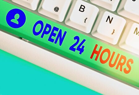 Writing note showing Open 24 Hours. Business concept for available all day and all night without closing or stopping