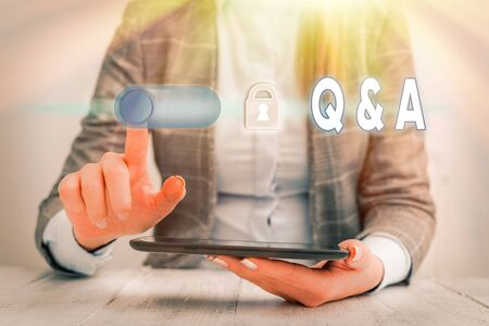 Text sign showing Q And A. Business photo showcasing a period of time or an occasion when someone answers questions