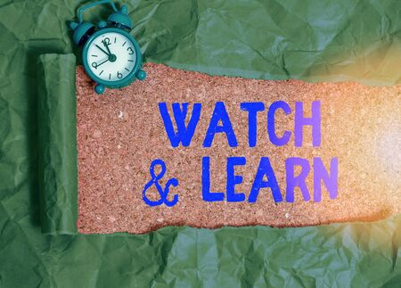 Text sign showing Watch And Learn. Business photo text demonstrating an action or ideas of how to do things