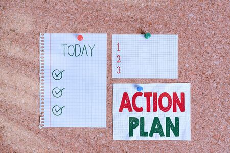 Text sign showing Action Plan. Business photo text detailed plan outlining actions needed to reach goals or vision Corkboard color size paper pin thumbtack tack sheet billboard notice board