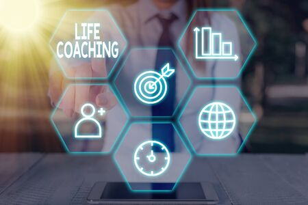 Conceptual hand writing showing Life Coaching. Concept meaning demonstrating employed to help showing attain their goals in career Reklamní fotografie