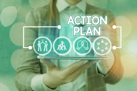 Word writing text Action Plan. Business photo showcasing proposed strategy or course of actions for certain time Standard-Bild