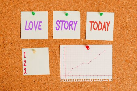 Handwriting text writing Love Story. Conceptual photo it is something such as a novel or movie about a love affair Corkboard color size paper pin thumbtack tack sheet billboard notice board