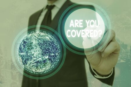 Word writing text Are You Covered Question. Business photo showcasing asking showing if they had insurance in work or life Elements of this image furnished by NASA 写真素材
