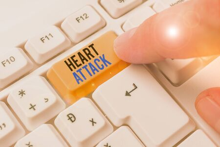 Writing note showing Heart Attack. Business concept for sudden occurrence of coronary thrombosis resulting in death