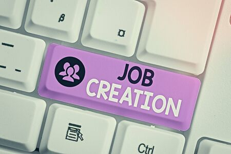 Writing note showing Job Creation. Business concept for the provision of new opportunities for paid employment 写真素材