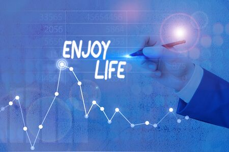 Text sign showing Enjoy Life. Business photo showcasing having a happy point of view and a positive outlook in life