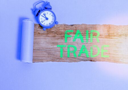 Word writing text Fair Trade. Business photo showcasing buying goods directly from producers in developing countries Standard-Bild