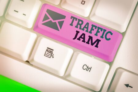 Word writing text Traffic Jam. Business photo showcasing a large number of vehicles close together and unable to move Imagens