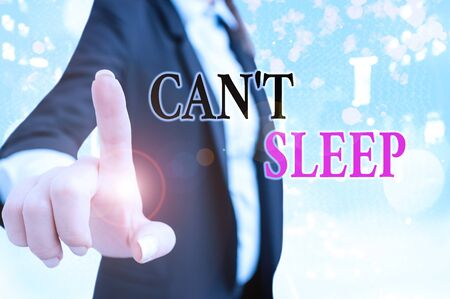 Text sign showing Cant Sleep. Business photo text trouble falling asleep or wake up frequently during the night