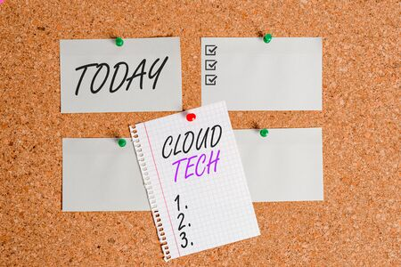 Writing note showing Cloud Tech. Business concept for storing and accessing data and programs over the Internet Corkboard size paper thumbtack sheet billboard notice board