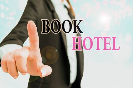Text sign showing Book Hotel. Business photo text an arrangement you make to have a hotel room or accommodation