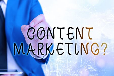 Word writing text Content Marketing Question. Business photo showcasing involves creation and sharing of online material