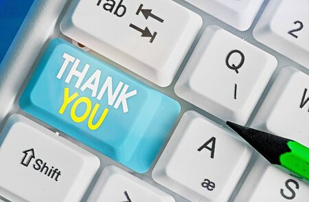 Text sign showing Thank You. Business photo text polite expression used when acknowledging gift service compliment Stock Photo
