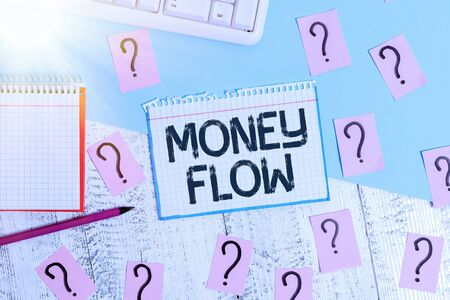 Writing note showing Money Flow. Business concept for the increase or decrease in the amount of money a business Writing tools and scribbled paper on top of the wooden table