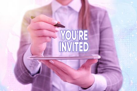Text sign showing You Re Invited. Business photo text make a polite friendly request to someone go somewhere