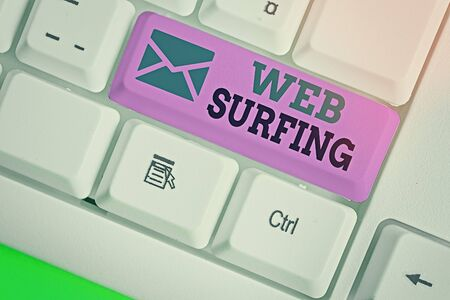 Word writing text Web Surfing. Business photo showcasing Jumping or browsing from page to page on the internet webpage
