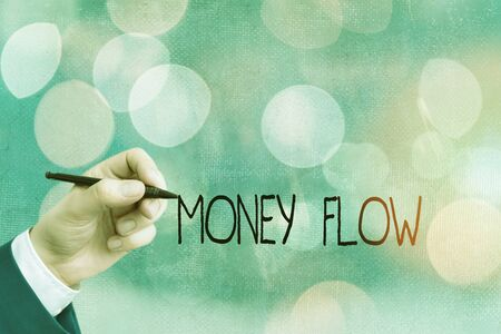 Conceptual hand writing showing Money Flow. Concept meaning the increase or decrease in the amount of money a business 版權商用圖片
