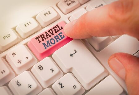 Text sign showing Travel More. Business photo text To make a journey often especially on long distance trip Фото со стока