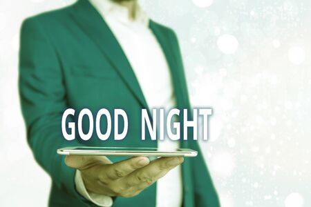 Text sign showing Good Night. Business photo showcasing expressing good wishes on parting at night or before going to bed