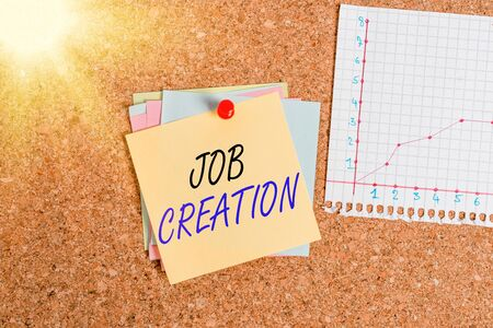 Writing note showing Job Creation. Business concept for the provision of new opportunities for paid employment Corkboard size paper thumbtack sheet billboard notice board