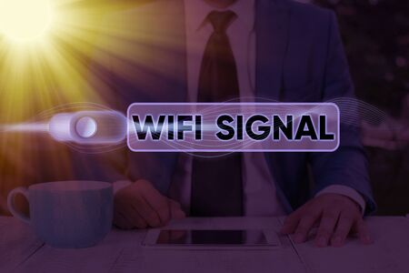 Text sign showing Wifi Signal. Business photo text provide wireless highspeed Internet and network connections Banco de Imagens