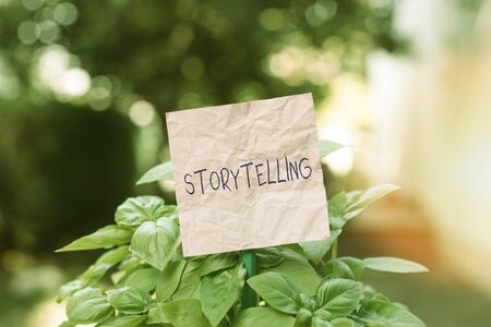 Conceptual hand writing showing Storytelling. Concept meaning activity writing stories for publishing them to public Plain paper attached to stick and placed in the grassy land