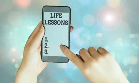 Writing note showing Life Lessons. Business concept for something which useful knowledge or principles can be learned