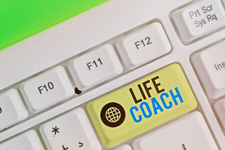 Text sign showing Life Coach. Business photo text someone who helps identify your goals and plan to achieve them