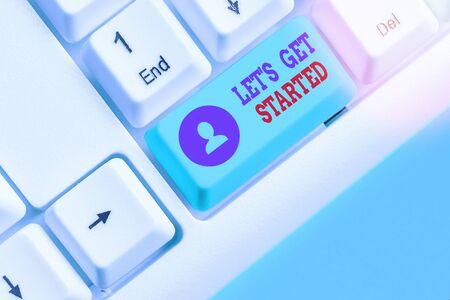 Word writing text Lets Is Get Started. Business photo showcasing to begin doing or working on something you had started Standard-Bild