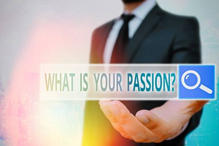 Conceptual hand writing showing What Is Your Passion Question. Concept meaning asking about his strong and barely controllable emotion