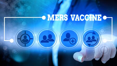 Text sign showing Mers Vaccine. Business photo showcasing get dose to improve immunity to viral respiratory disease 写真素材