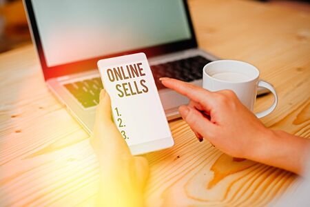 Text sign showing Online Sells. Business photo text sellers directly sell goods or services over the Internet
