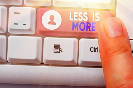 Word writing text Less Is More. Business photo showcasing used to express a minimalist approach is more effective.