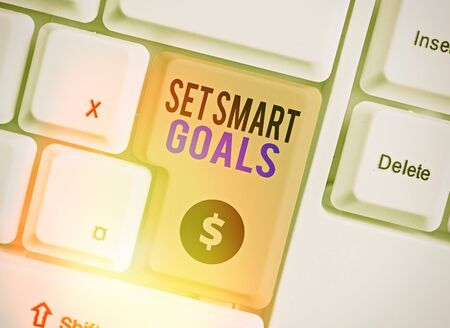Text sign showing Set Smart Goals. Business photo showcasing giving criteria to guide in the setting of objectives