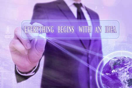 Word writing text Everything Begins With An Idea. Business photo showcasing steps you take to turn an idea into a reality Elements of this image furnished by NASA 版權商用圖片